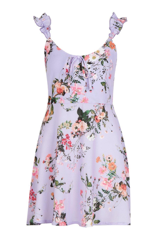 Boohoo - Purple Floral Frill Strap Skater Dress - Lyst. View fullscreen 51b199ee6