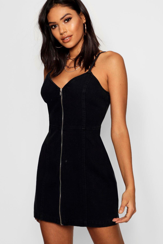 b12a6d5adada Boohoo Zip Front Strappy Denim Dress in Black - Lyst
