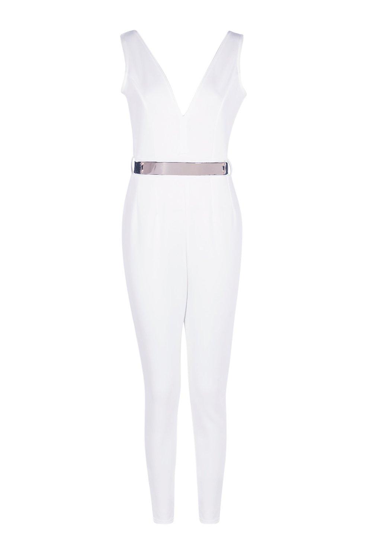 ada40125364 Lyst - Boohoo Nina Deep Plunge Belted Skinny Leg Jumpsuit in Black