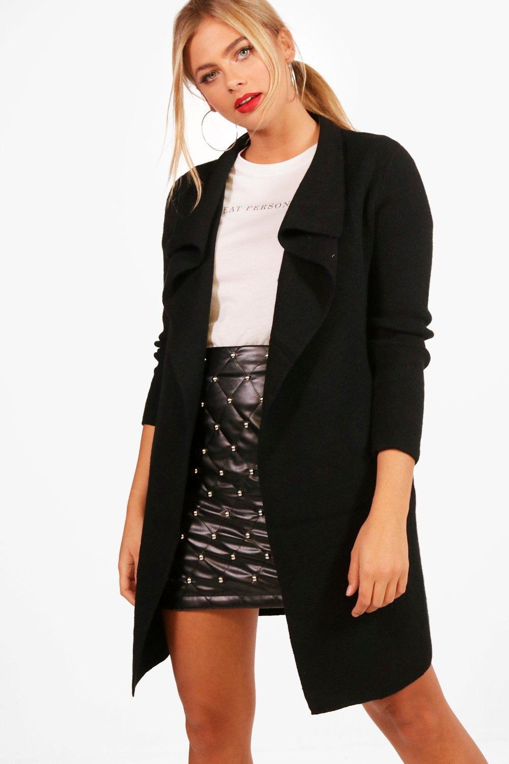 Boohoo Leah Zip Pocket Waterfall Cardigan in Black | Lyst