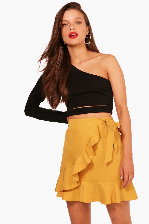 Boohoo Ruffle Front Tie Waist Woven Mini Skirt Outlet Discount TsbVf