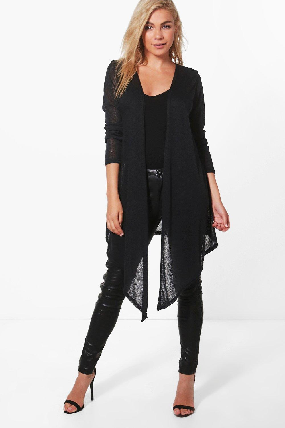 Boohoo Becca Soft Knit Midi Waterfall Cardigan in Black | Lyst
