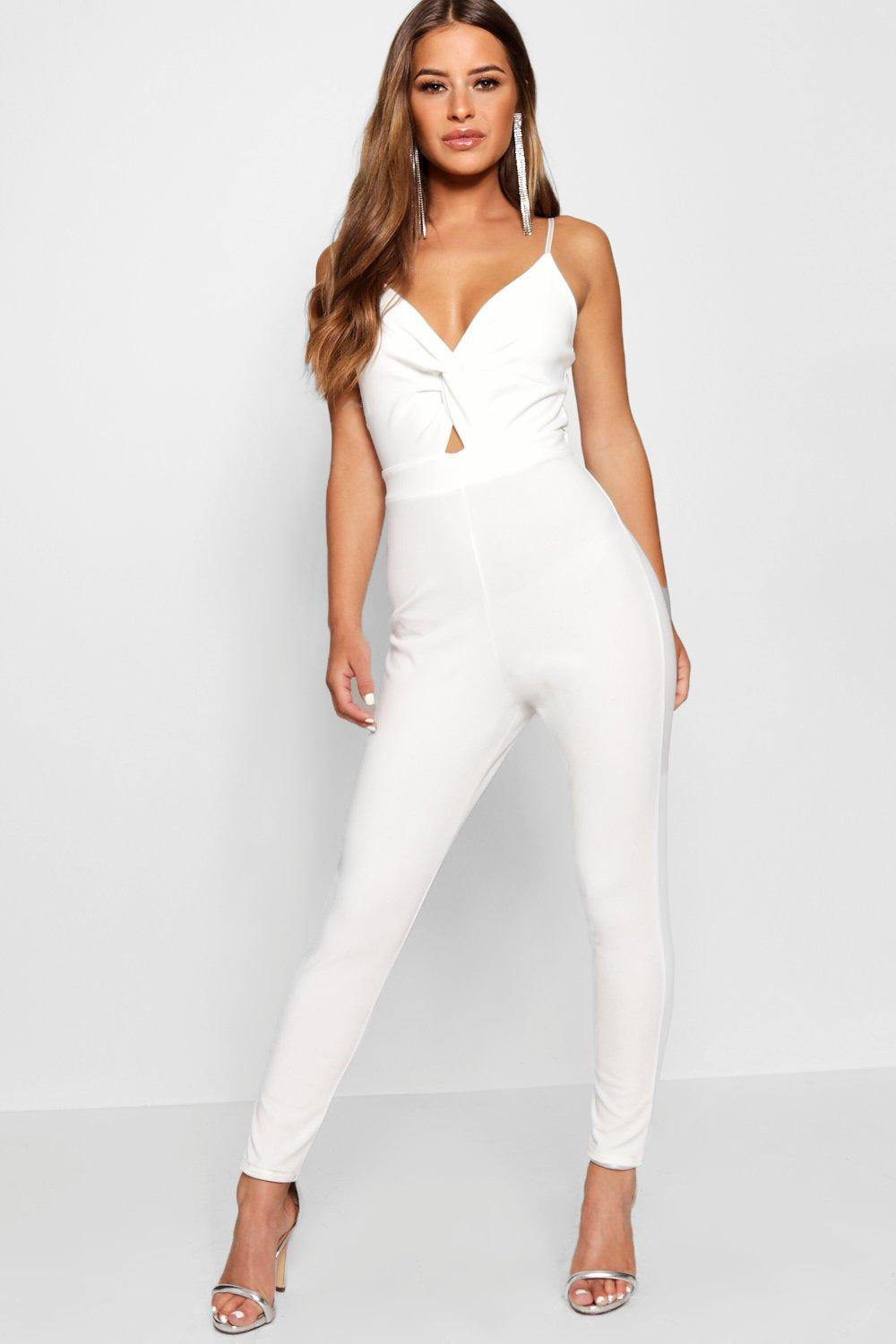 4841c226bc7f Boohoo Petite Knot Front Strappy Tapered Jumpsuit in White - Lyst