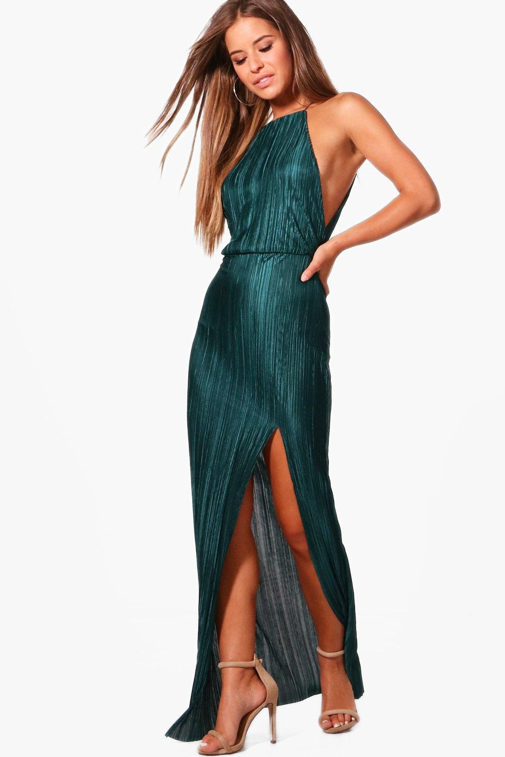 f9df526734 Boohoo Petite Pleated Thigh Split Maxi Dress in Green - Lyst