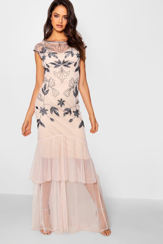 838b21f50bf5 Lyst - Boohoo Tall Boutique Embellished Maxi Dress