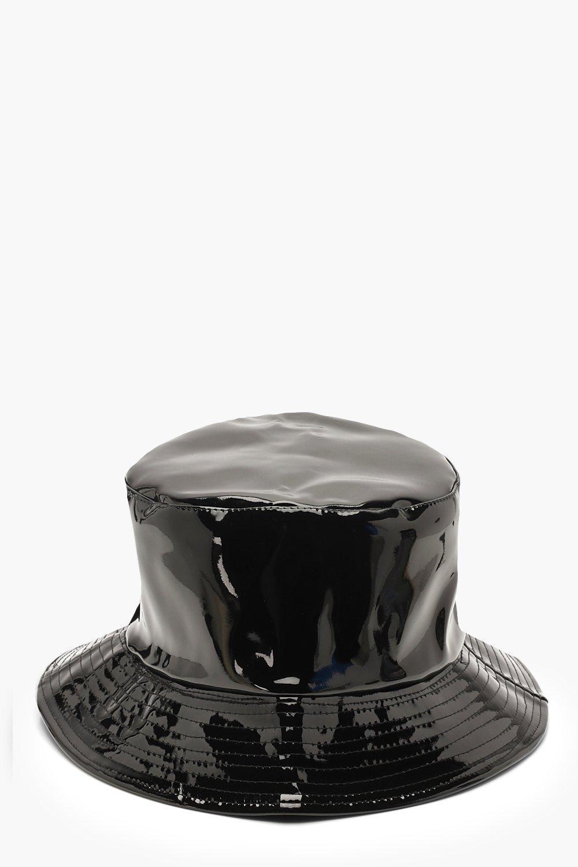 24c058afd12bc Boohoo - Black Vinyl Bucket Hat - Lyst. View fullscreen