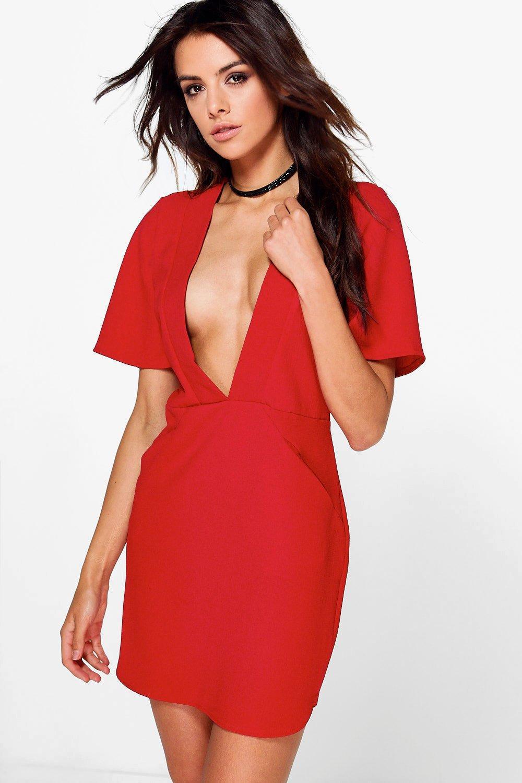 Boohoo Sinead Deep Plunge Cap Sleeve Shift Dress in Red - Lyst 6624fd36d