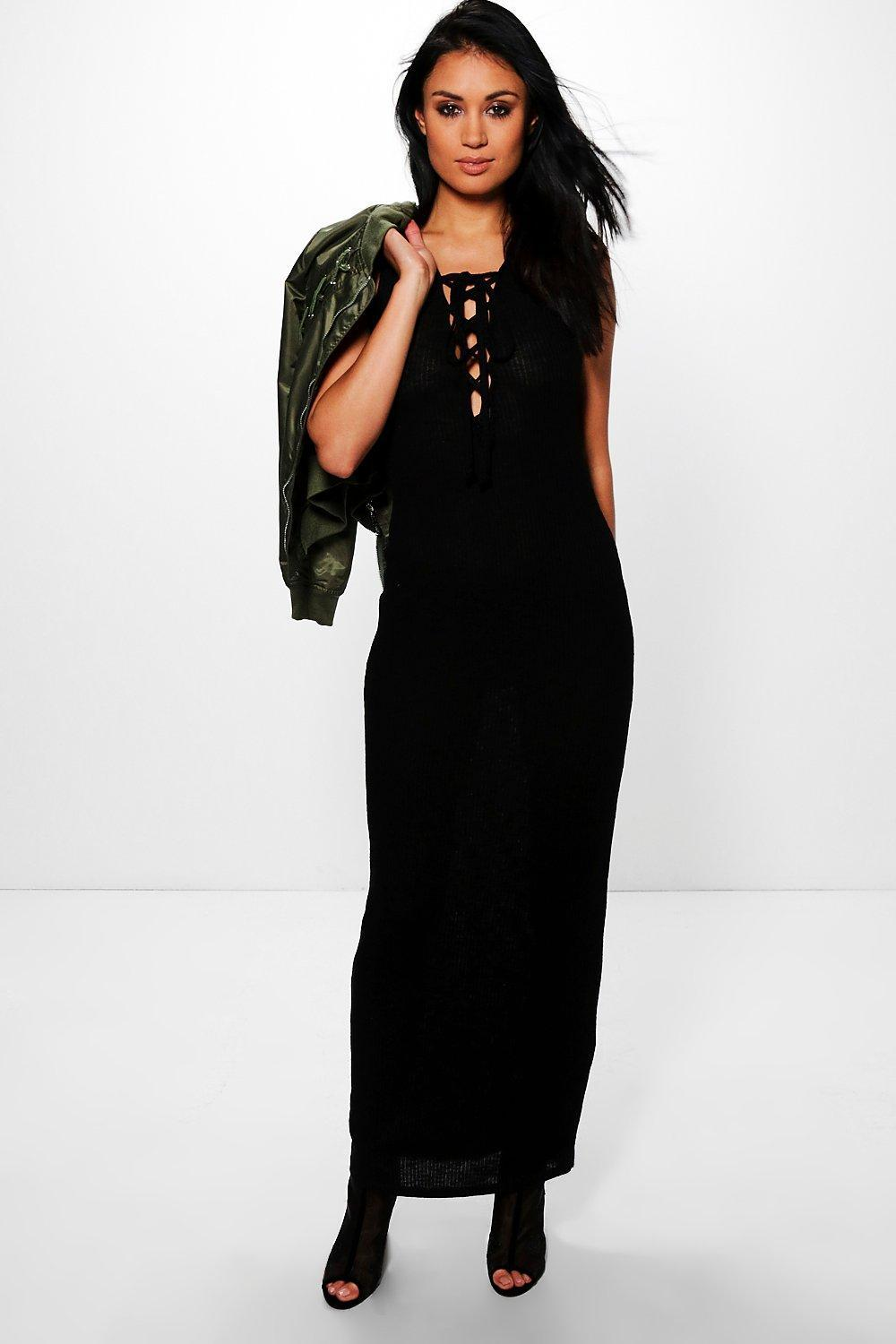 455498de2a76 Lyst - Boohoo Tina Lace Up Front Plunge Maxi Dress in Black