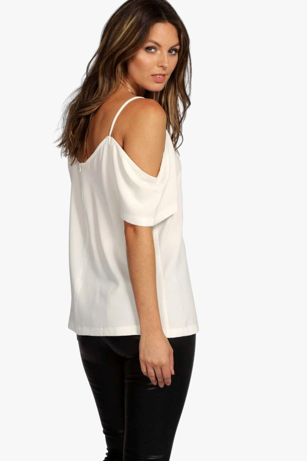 723097b029b349 Boohoo - White Woven Strappy Open Shoulder Top - Lyst. View fullscreen