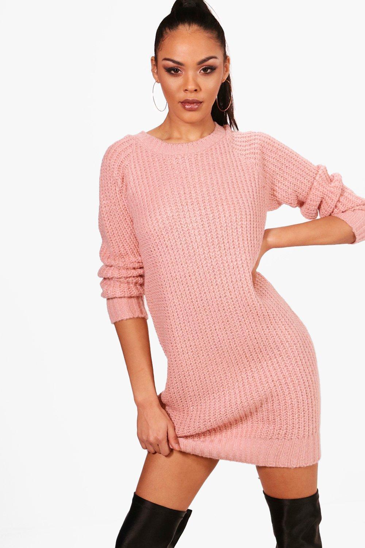 Boohoo Soft Knit Jumper Dress in Pink - Lyst 4148c932d