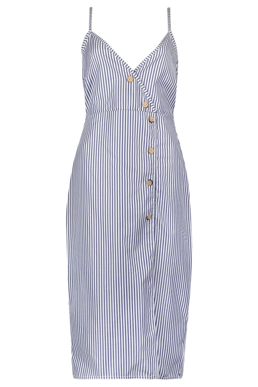 c185e233f157 ... Katy Woven Stripe Button Detail Midi Shift Dress - Lyst. View fullscreen