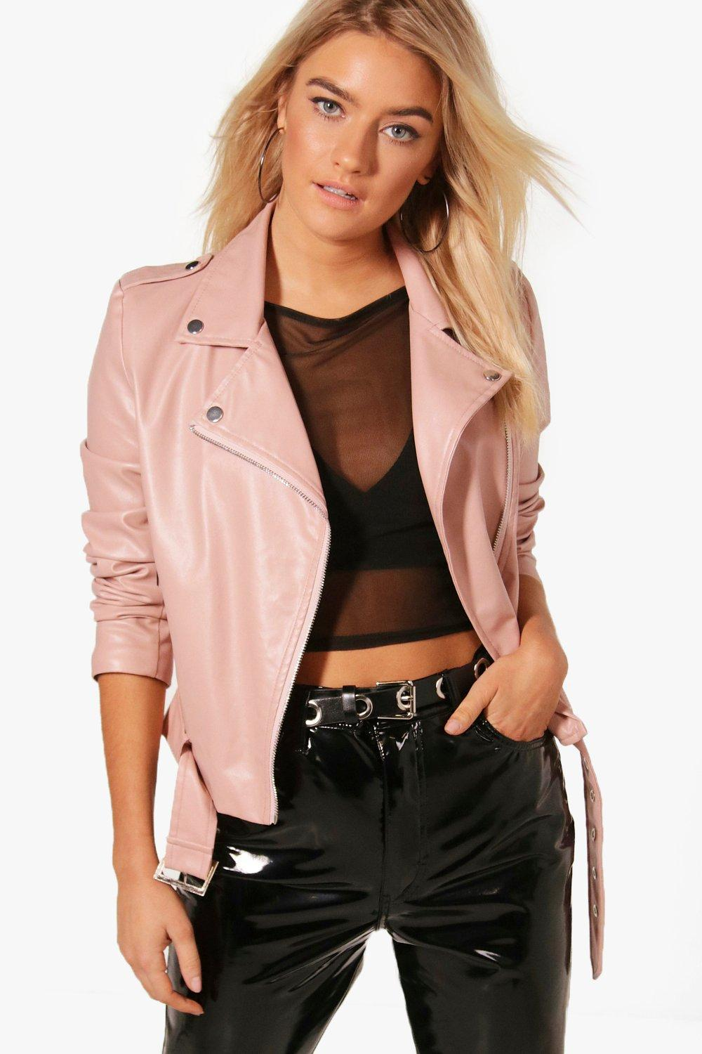 0b8ce31479c3f Lyst - Boohoo Harriet Faux Leather Vegan Biker in Pink