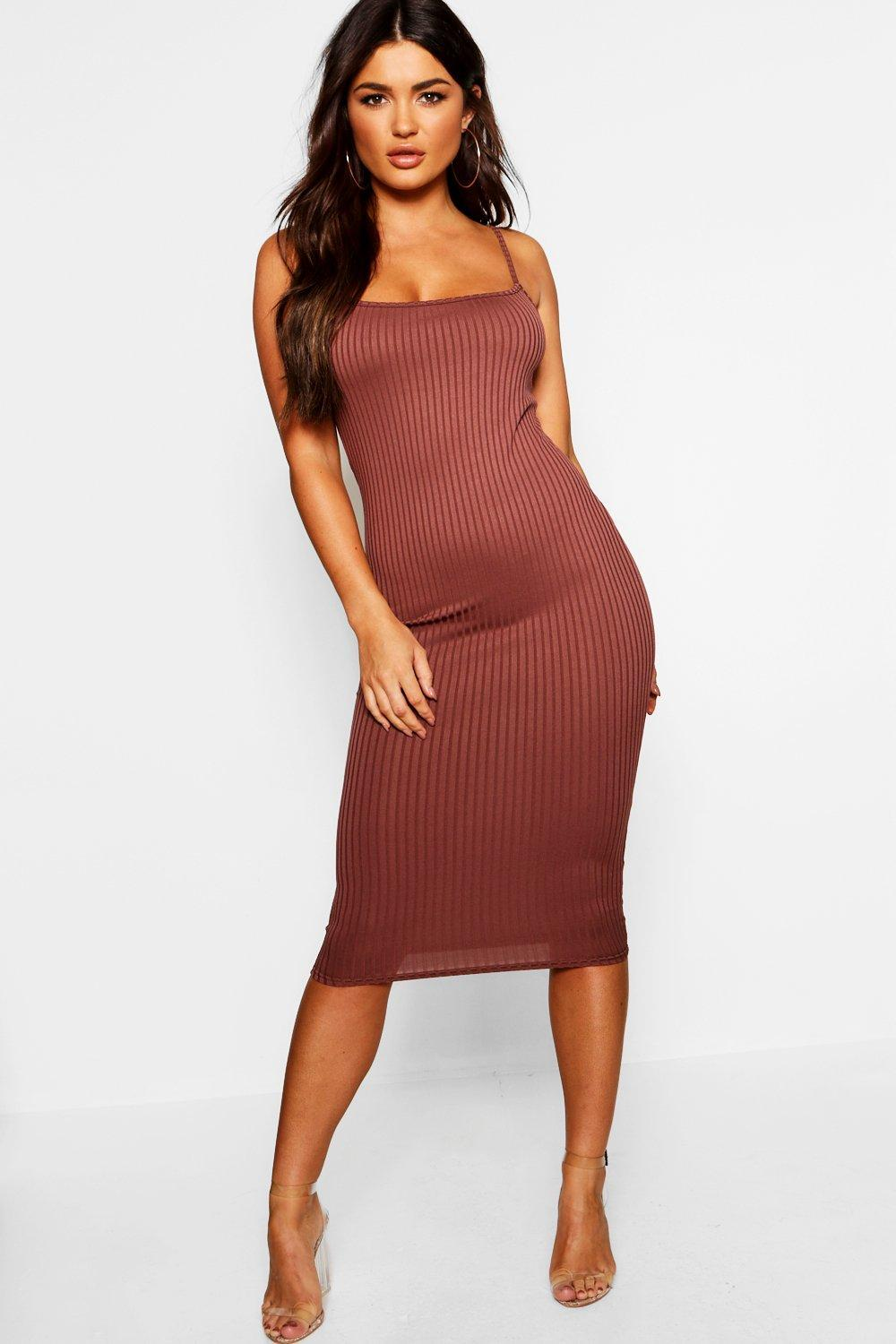 7e2095e480e4c Lyst - Boohoo Strappy Jumbo Rib Midi Dress in Brown