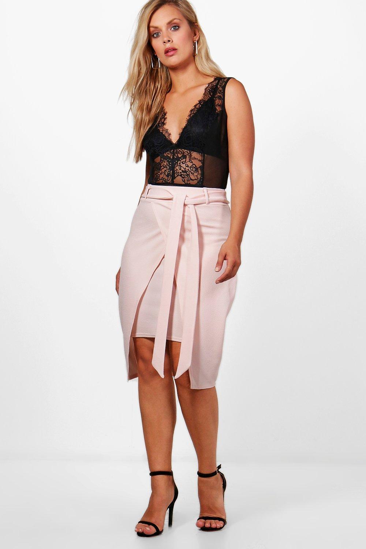 65522cde409 Boohoo Plus Isobel Crepe Wrap Tie Belt Midi Skirt in Pink - Lyst