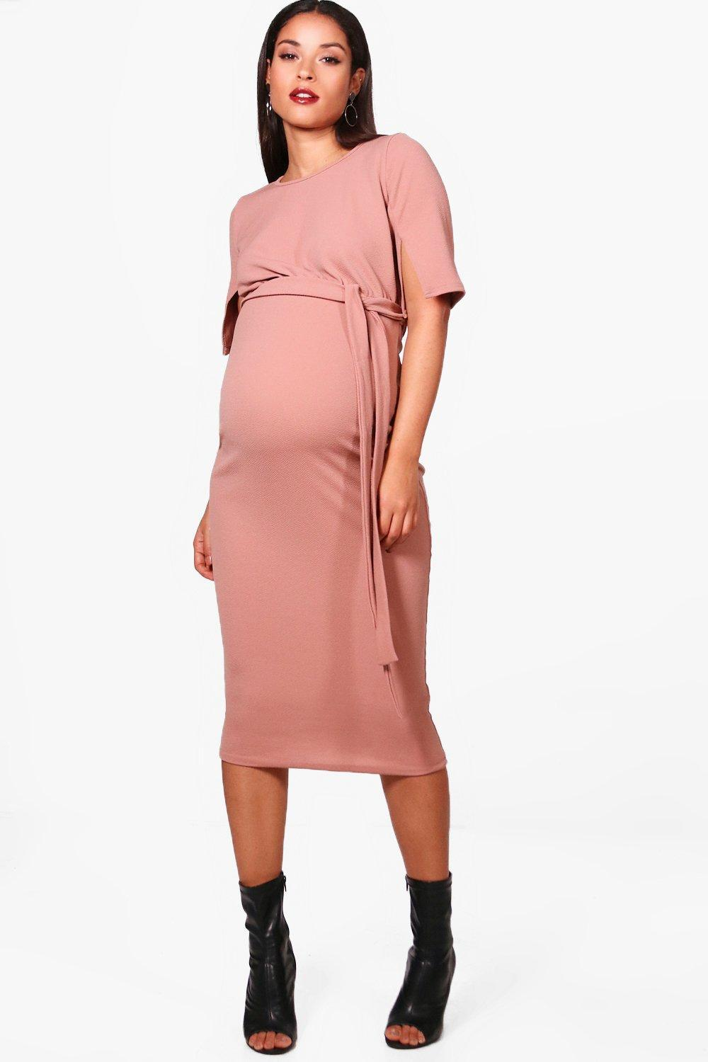 a26ba14bbdad Boohoo Maternity Belted Split Sleeve Wiggle Dress in Pink - Lyst