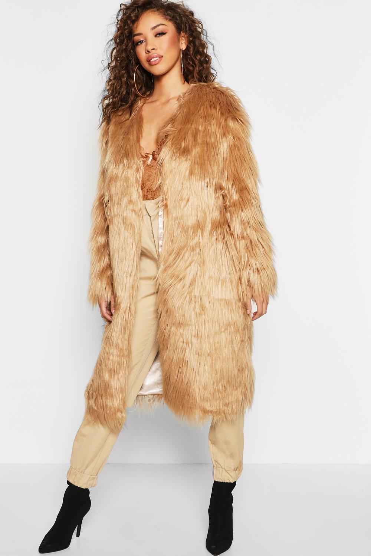 97f8cdcb42e1c Lyst - Boohoo Shaggy Faux Fur Coat in Natural