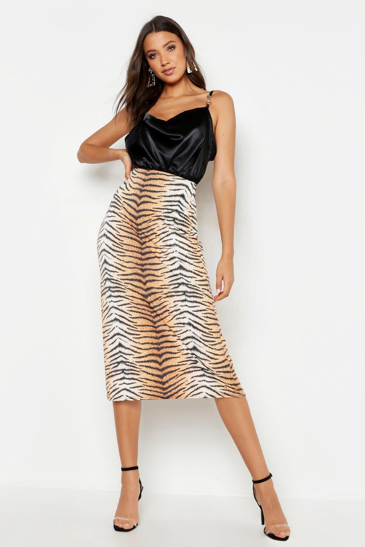 c4cbaba5eac4d Boohoo. Women's Tall Tiger Print Slinky Midi Skirt