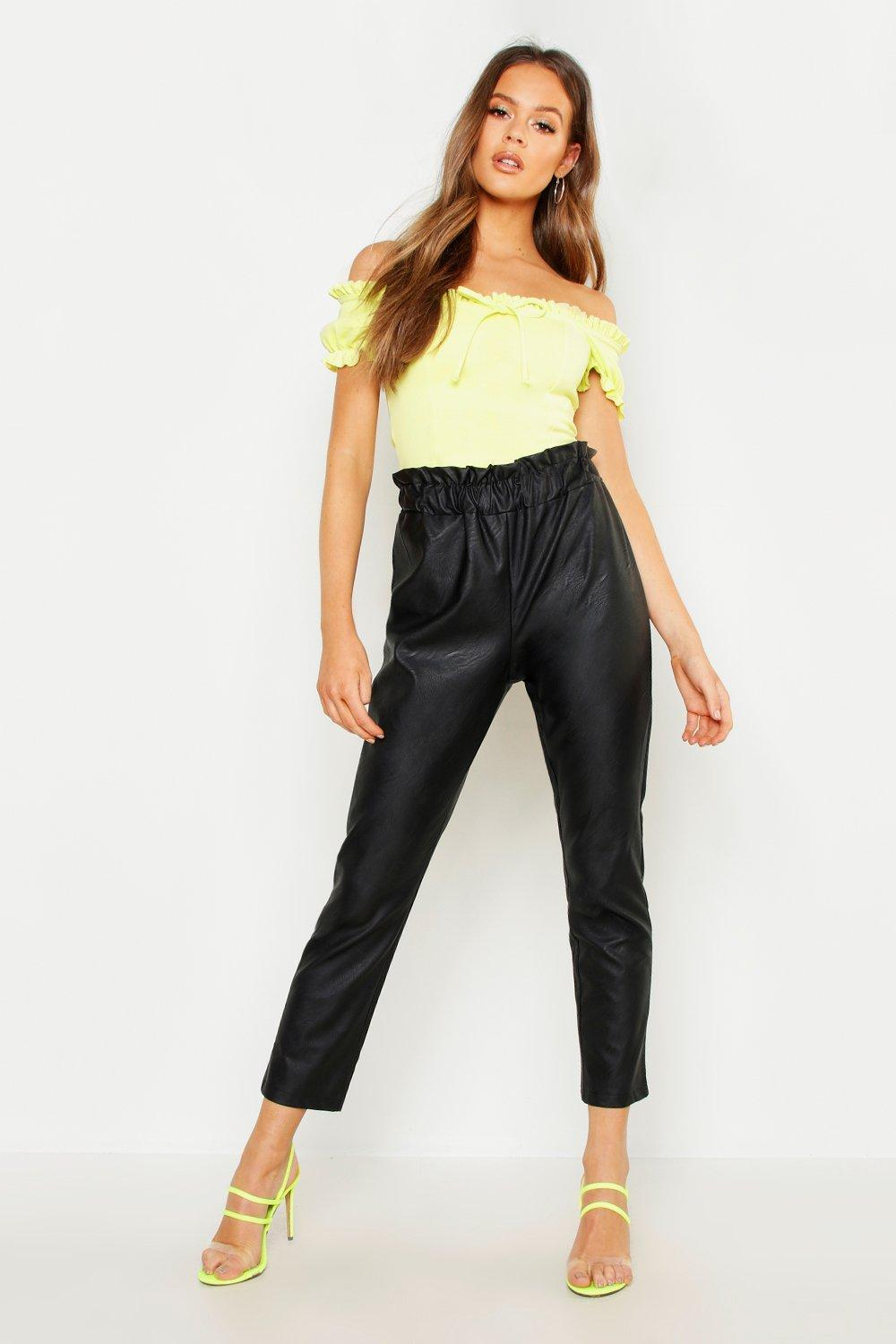 8a505ab4d2c8 Lyst - Boohoo Paperbag Waist Leather Look Pu Trouser in Black