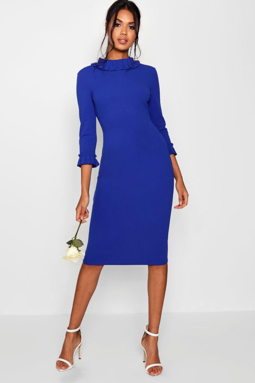 Pleat Midi In Boohoo Detail Dress Lyst Blue CBrxtdoshQ