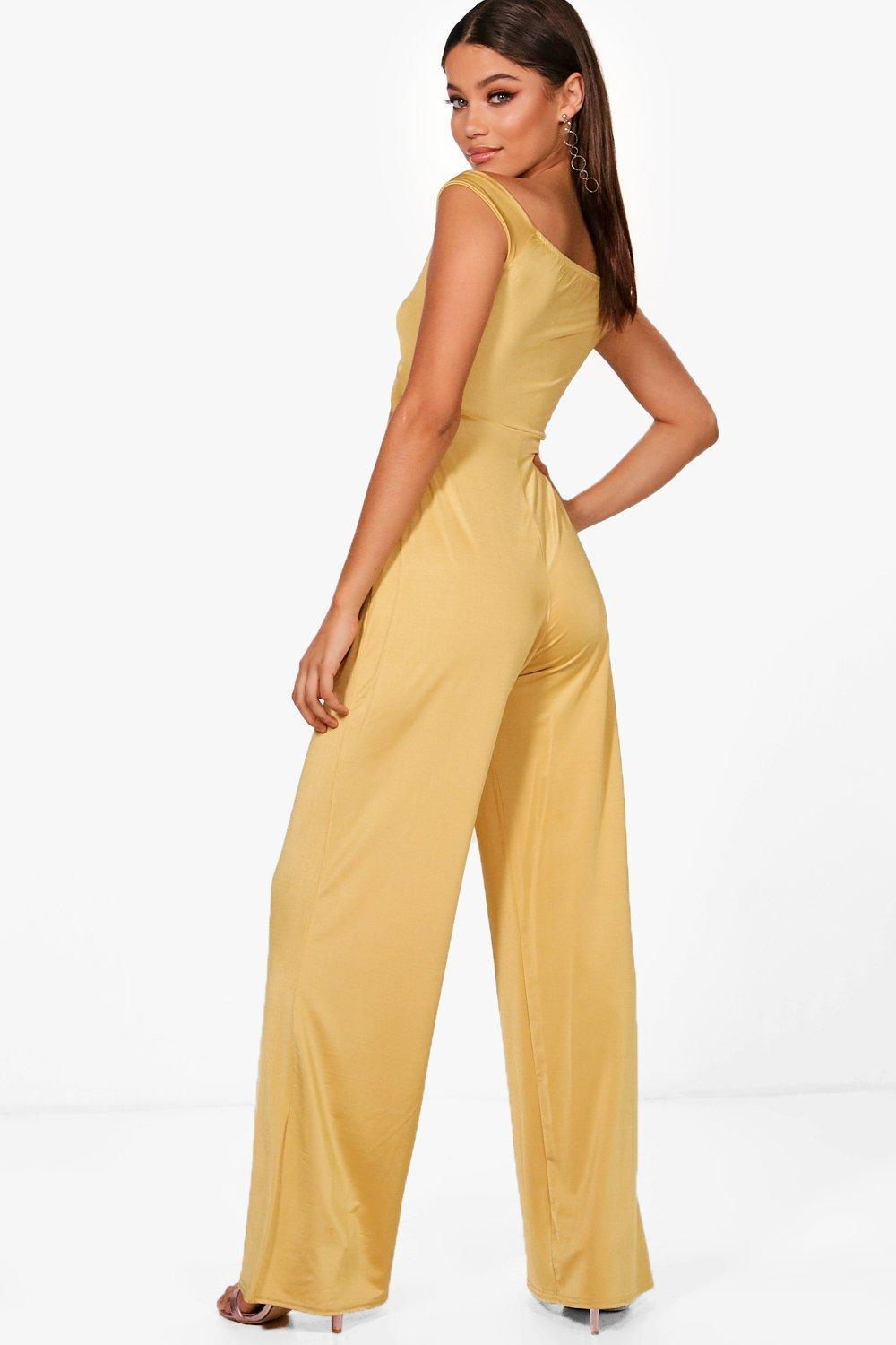 197e75fd2359 Lyst - Boohoo Cut Out Middle Wide Leg Jumpsuit in Yellow