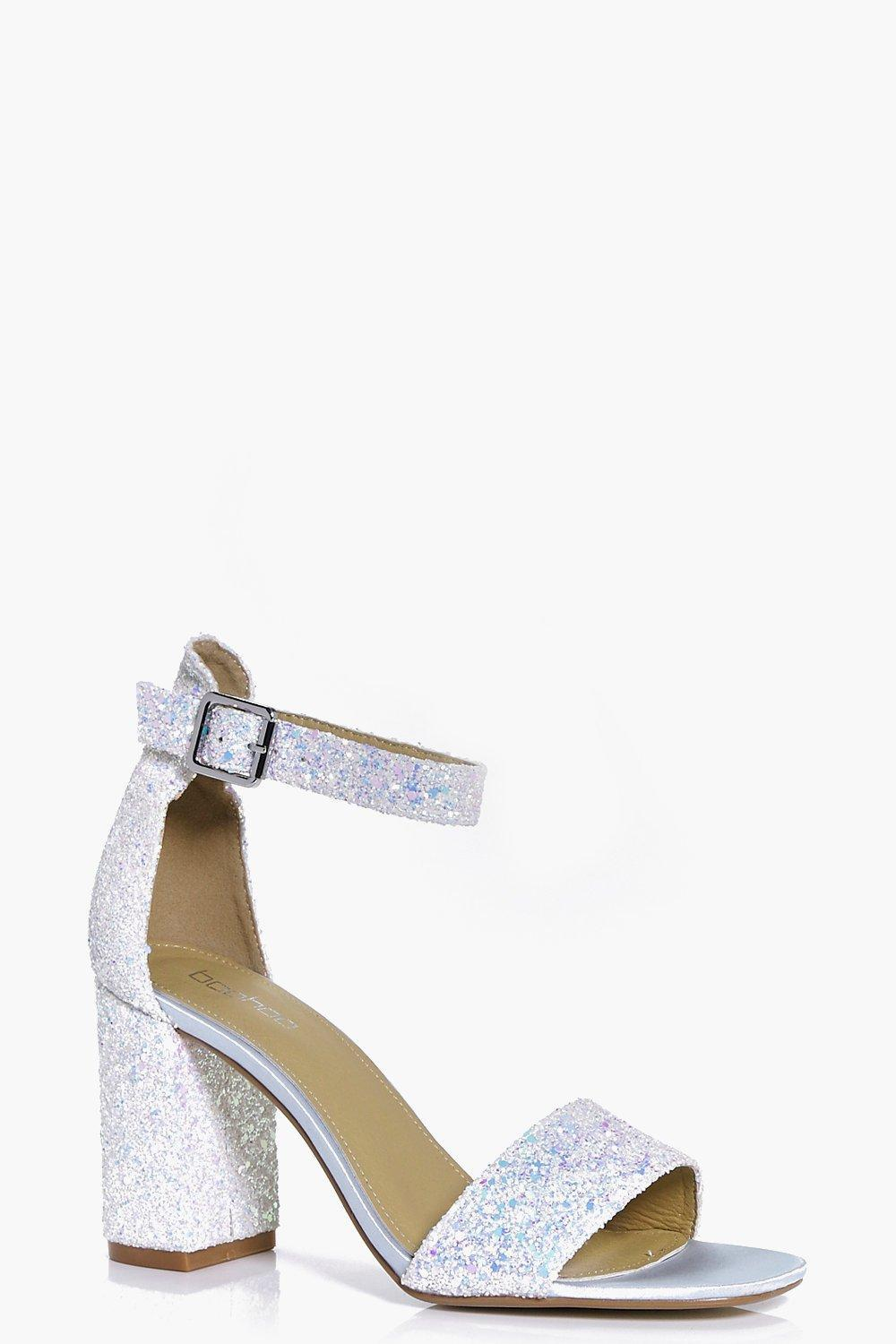 f3f0d98ae286 Lyst - Boohoo Lillie Bridal Glitter Block Heel Two Part in Blue