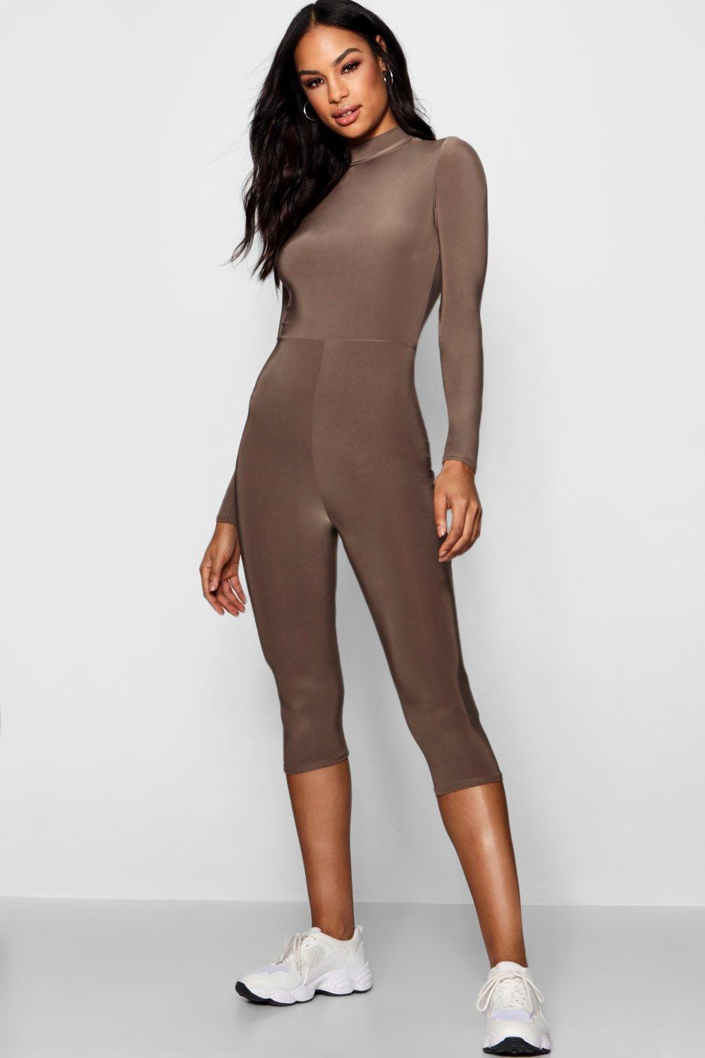 bb5ff89a63fe Lyst - Boohoo Tall Slinky High Neck Unitard Jumpsuit in Brown