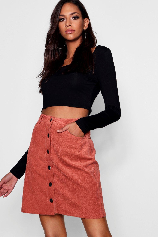 0ac2618bcc9 Boohoo Tall Button Through Cold Mini Skirt - Lyst