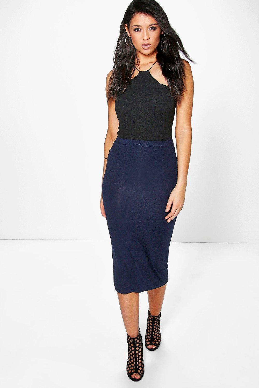 a9421aa0909 Lyst - Boohoo Basic Midi Jersey Tube Skirt in Blue