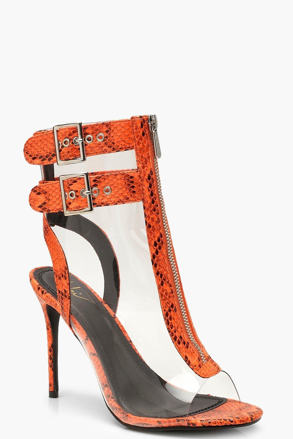 f3887bf71ce Boohoo Neon Snake Clear Panel Shoe Boots in Orange - Lyst