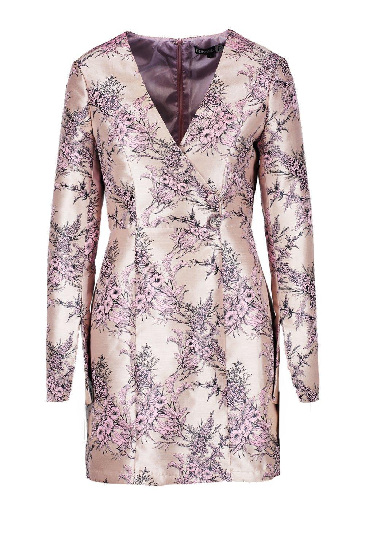 bb105be99f1a7 Boohoo Layla Jacquard Button Detail Blazer Dress in Pink - Lyst