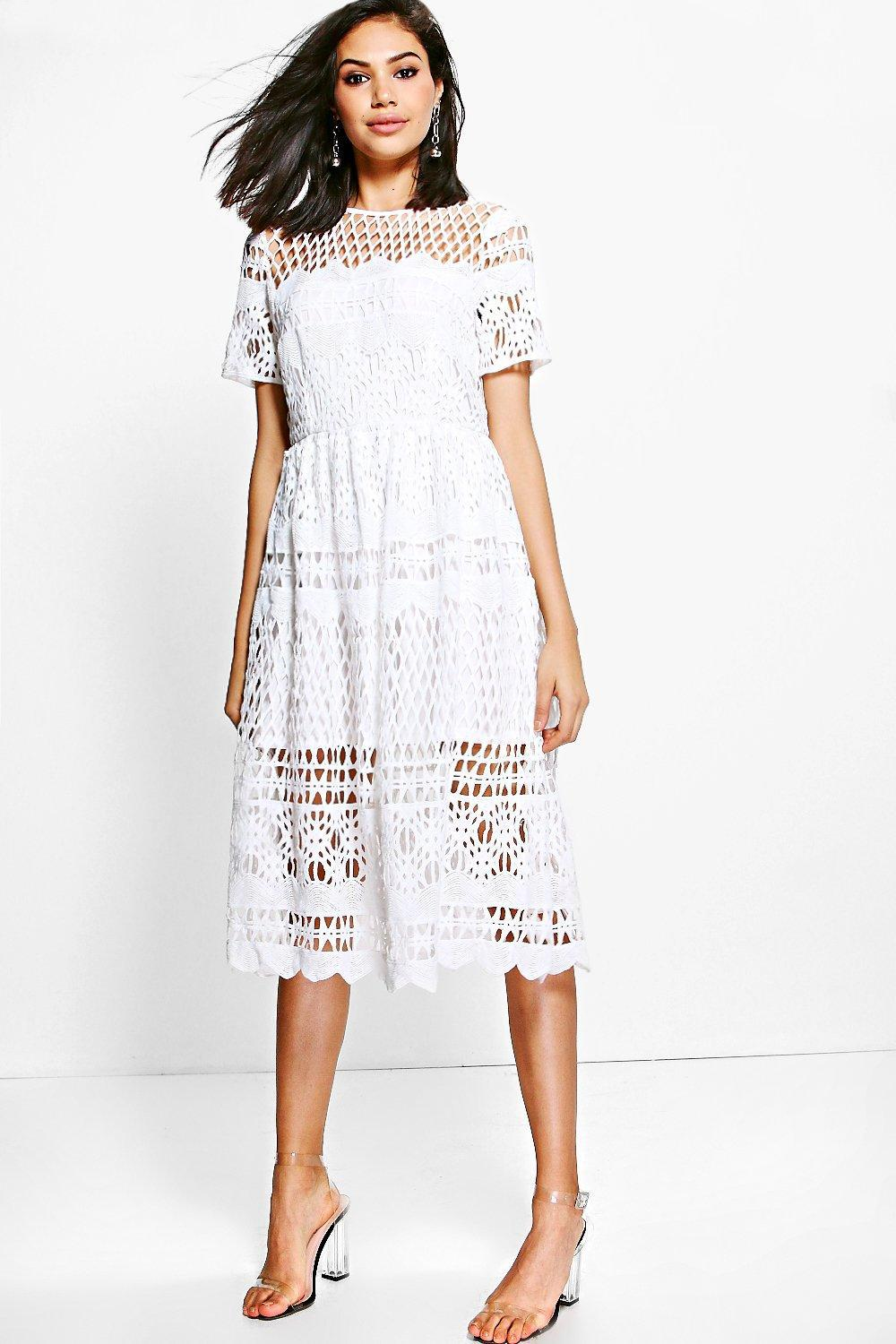 738a34717365 Boohoo Boutique Corded Lace Panelled Skater Dress in White - Lyst