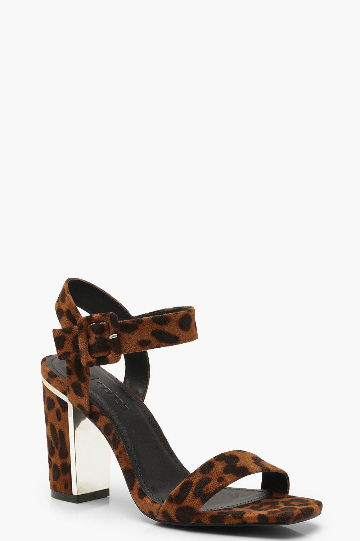 8392370bf30 Lyst - Boohoo Leopard 2 Part Block Heels in Brown