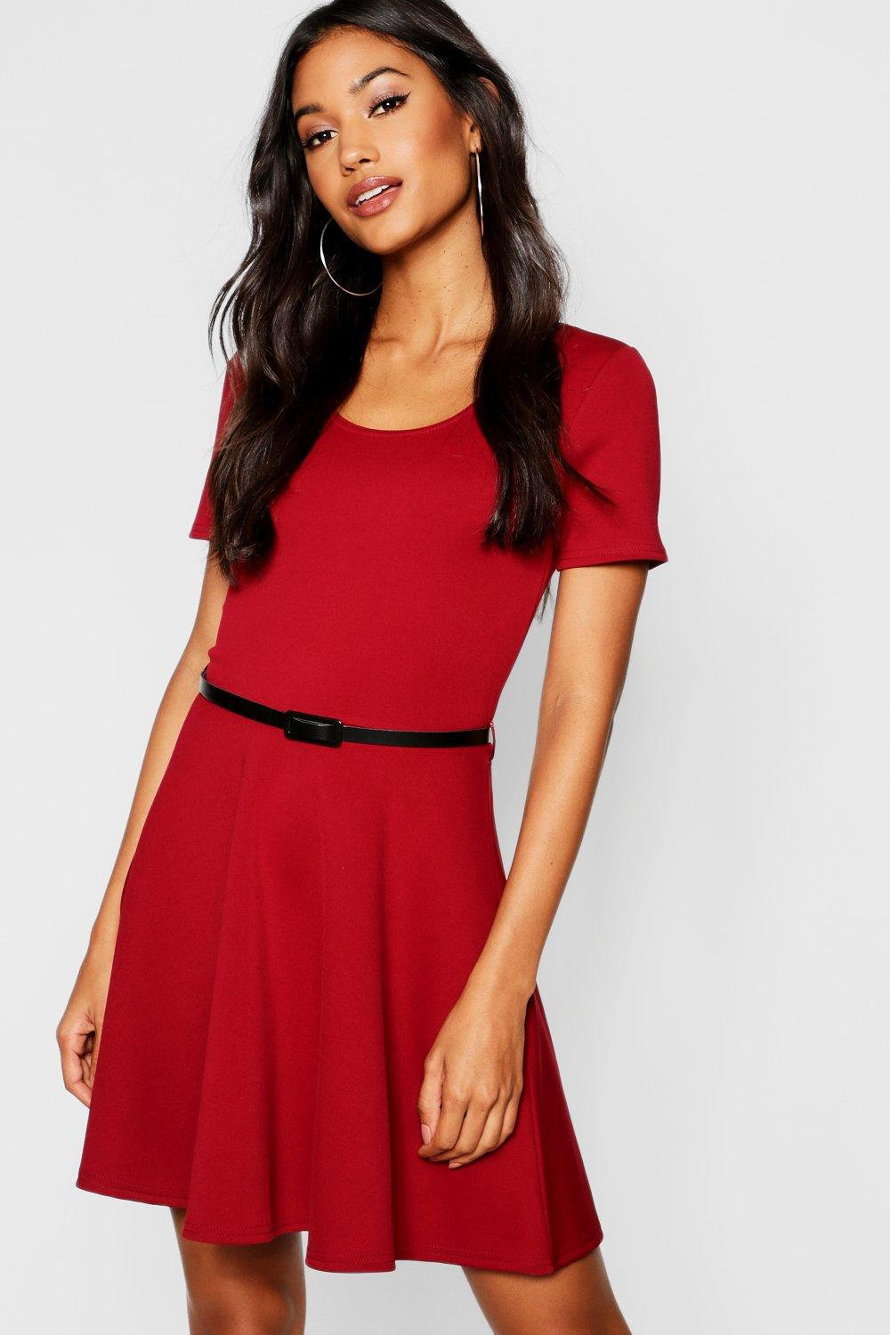 098ff62a88 Boohoo Short Sleeve Belted Skater Dress in Red - Lyst