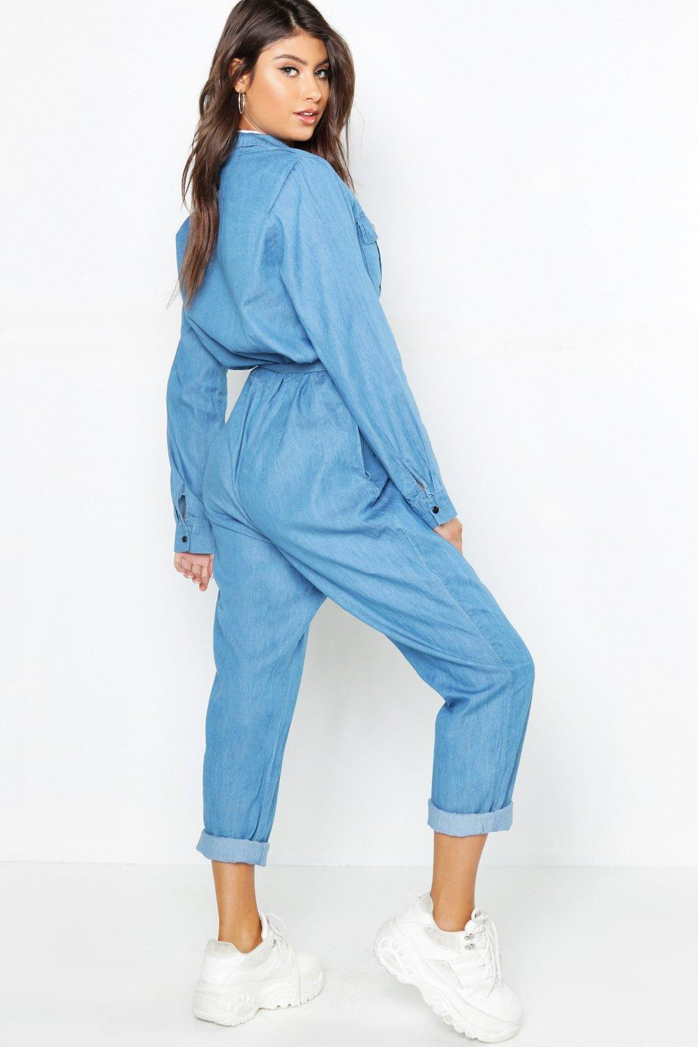 58397c68f1 Boohoo - Blue Tie Waist Utility Denim Boilersuit - Lyst. View fullscreen