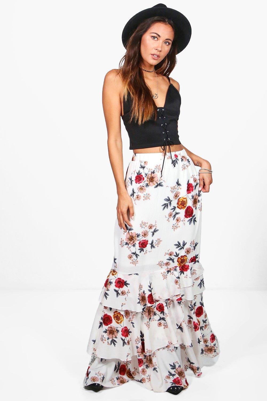 653835dc000ae Boohoo Lola Ruffle Hem Floral Woven Maxi Skirt in White - Lyst
