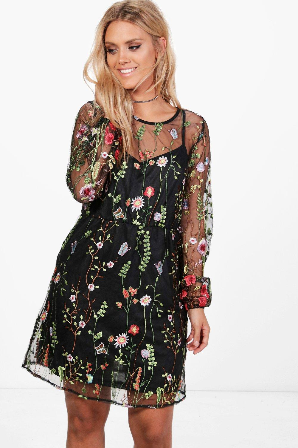 9932b8159fc Boohoo Plus Embroidered Skater Dress in Black - Lyst