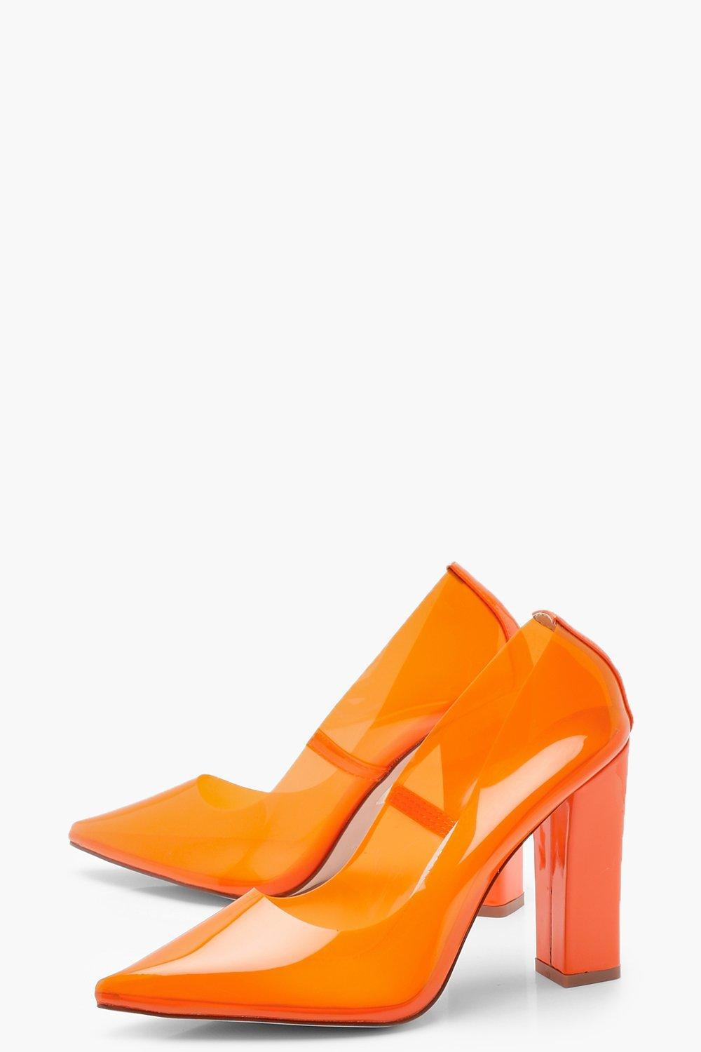 98eefc8994e4 Lyst - Boohoo Clear Block Heel Courts in Orange