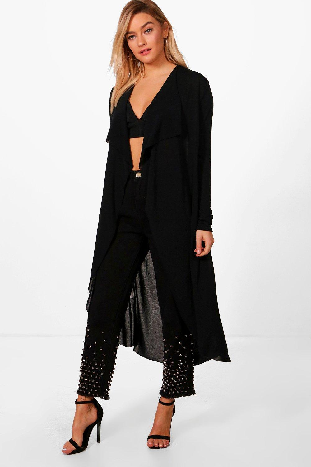 Boohoo Luna Waterfall Belted Midi Cardigan in Black | Lyst