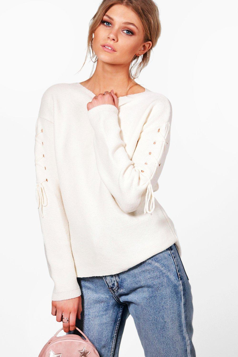be4da529315 Boohoo Petite Louise Lace Up Sleeve Oversized Jumper in White - Lyst
