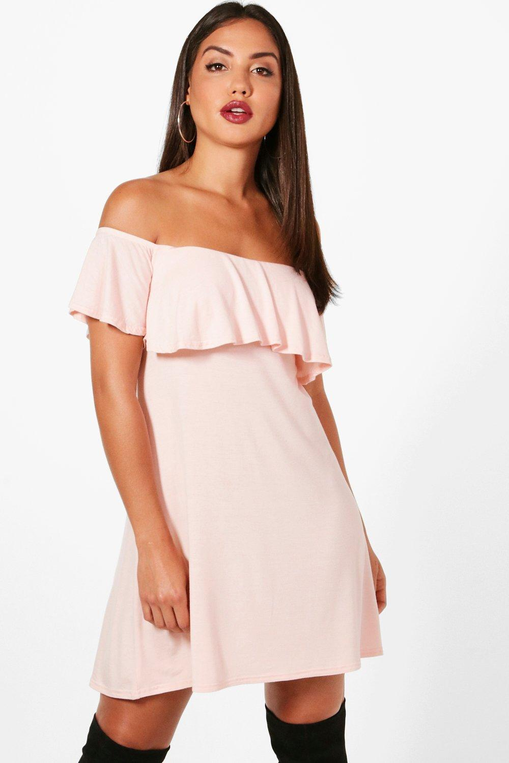 8bb85d5b2669 Boohoo Louise Frill Detail Off The Shoulder Swing Dress in Pink - Lyst
