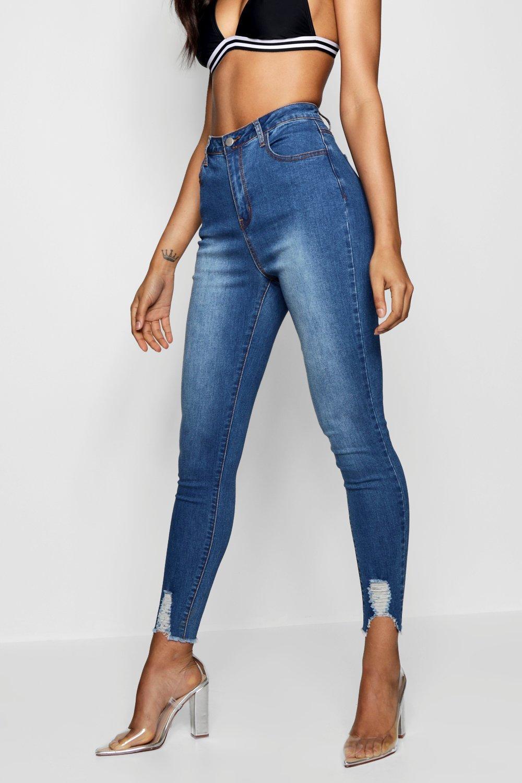 cc5f8b3c31 Lyst - Boohoo Mid Rise Ultra Distressed Hem Skinny Jeans in Blue