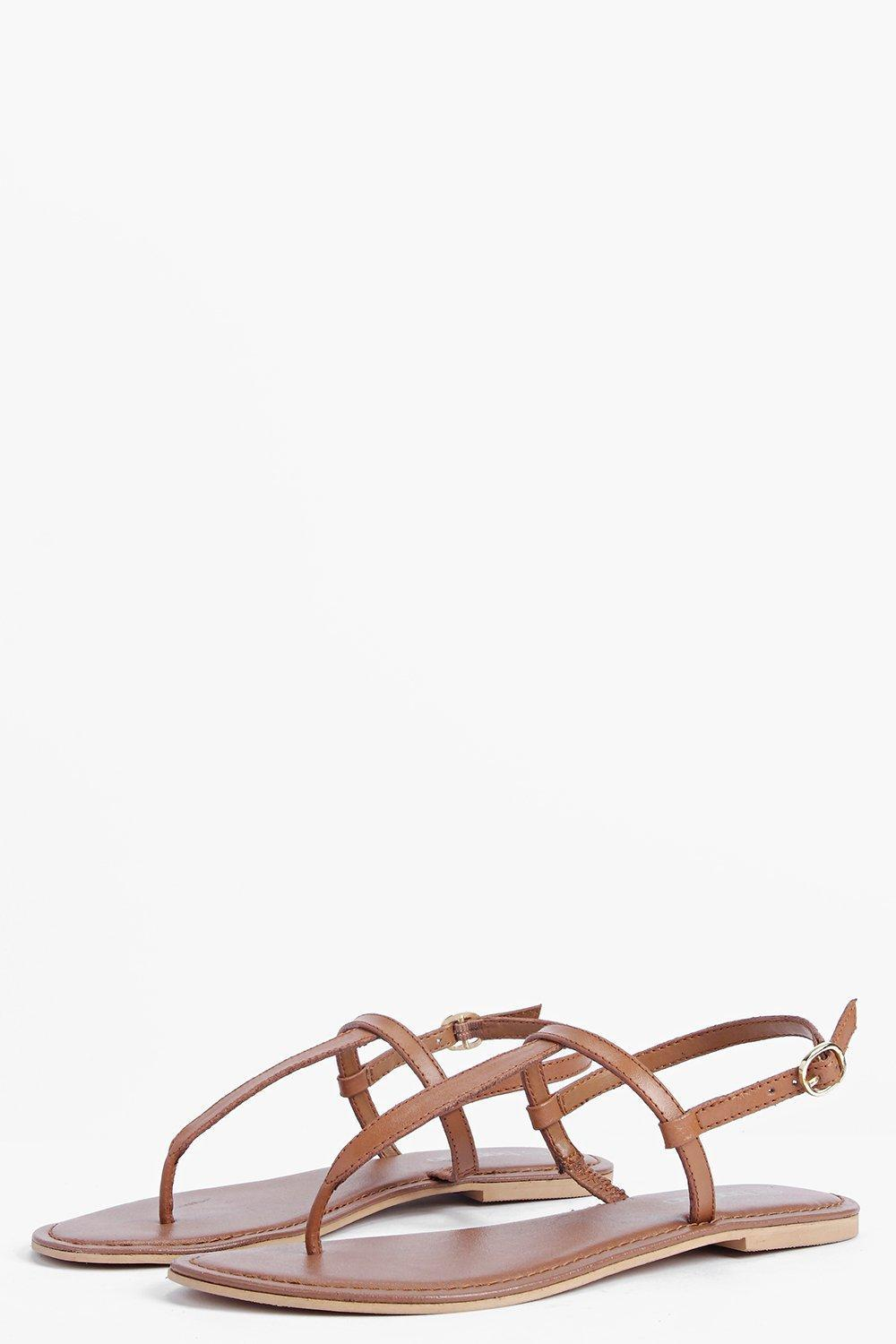 dd45294ef5626b Lyst - Boohoo Boutique Lara Plain Toe Thong Leather Sandal in Brown