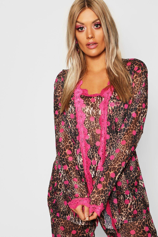 833e2811c93c Lyst - Boohoo Gemma Collins Chiffon Leopard Lace Trim Robe in Brown