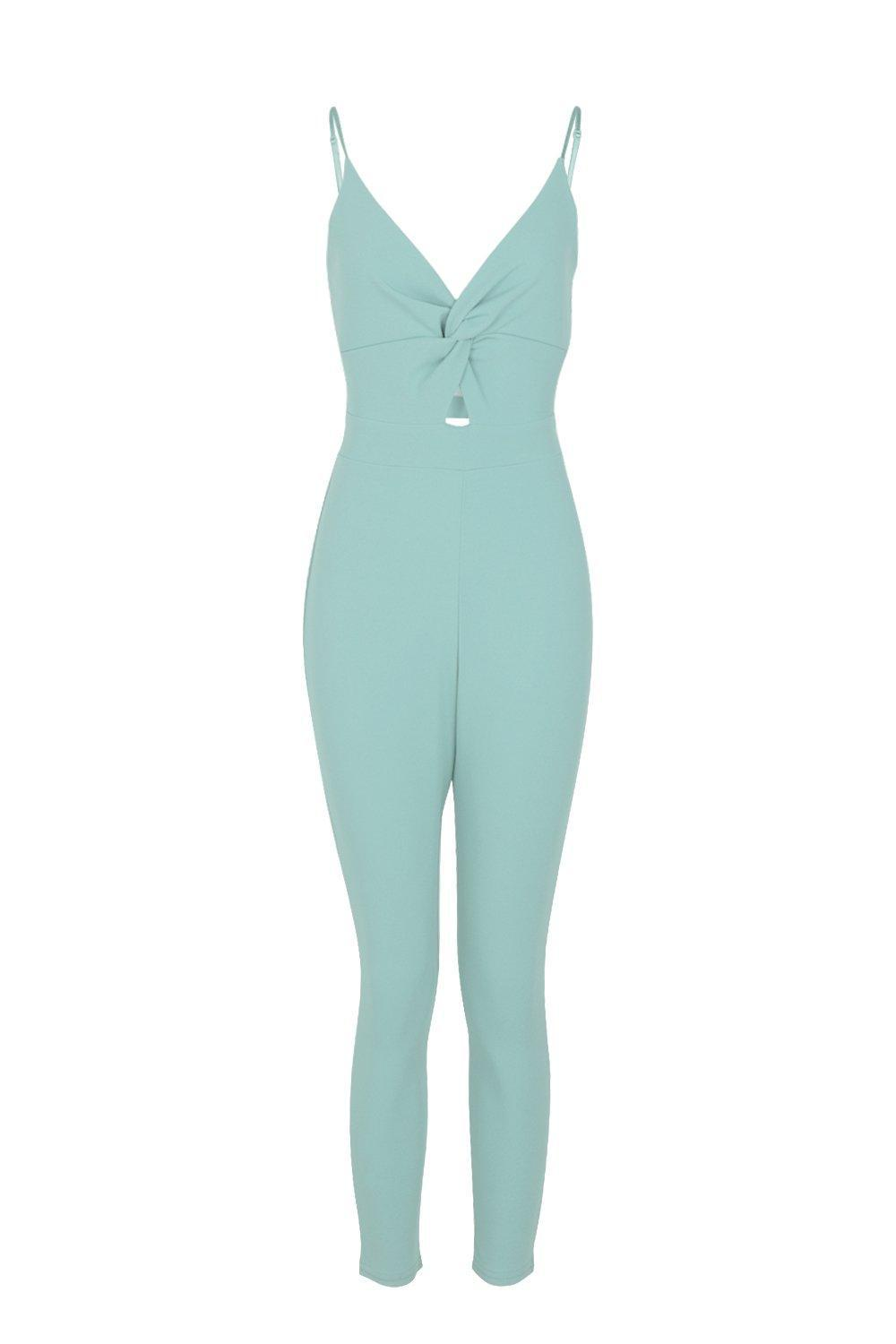7ce7fda232e4 Boohoo Petite Knot Front Strappy Tapered Jumpsuit - Lyst
