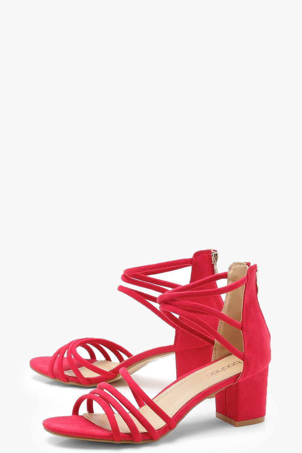 a860e9a956c Lyst - Boohoo Strappy Low Block Heels in Red