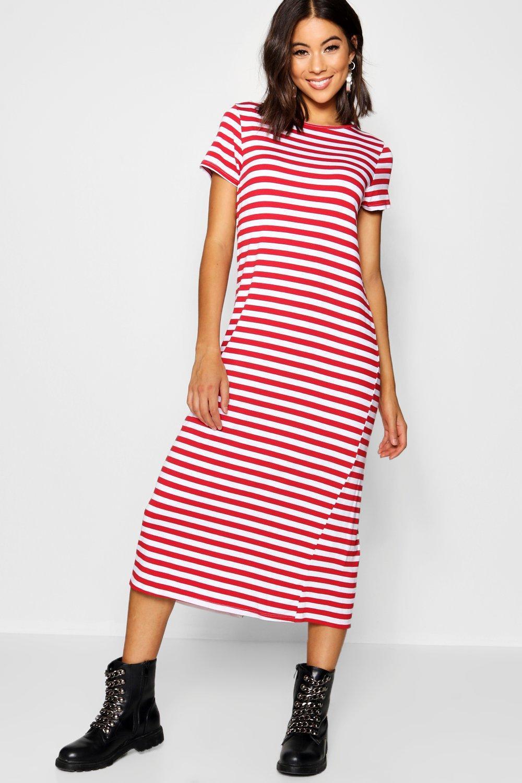 2674028f755 Boohoo - Red Oversized Stripe Midaxi T-shirt Dress - Lyst. View fullscreen