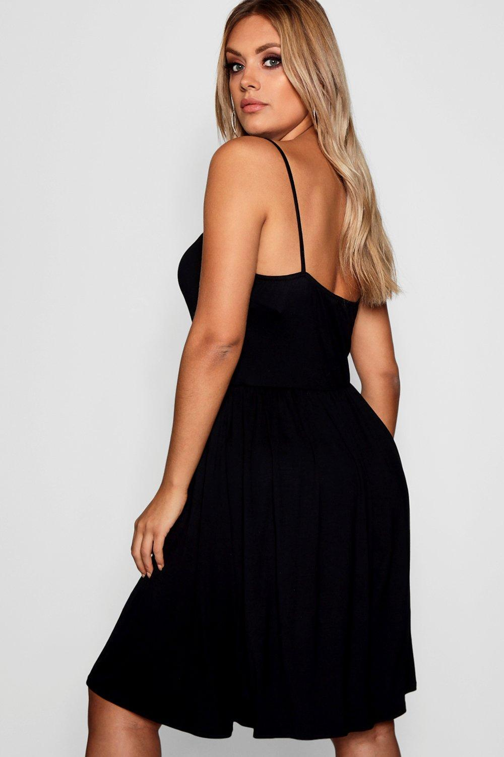 a9bc9fb1ab48 Boohoo - Black Plus Strappy Knot Front Swing Dress - Lyst. View fullscreen