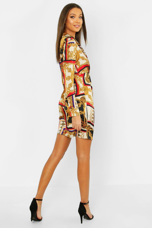 000a9c1b045ca Boohoo - Orange Tall Satin Scarf Print Shirt Dress - Lyst. View fullscreen