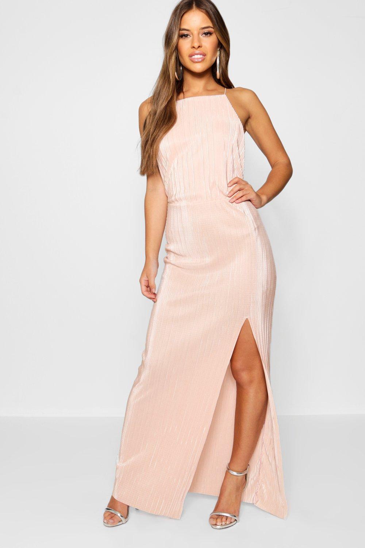 f782bebbfe Lyst - Boohoo Petite Pleated Thigh Split Maxi Dress in Pink