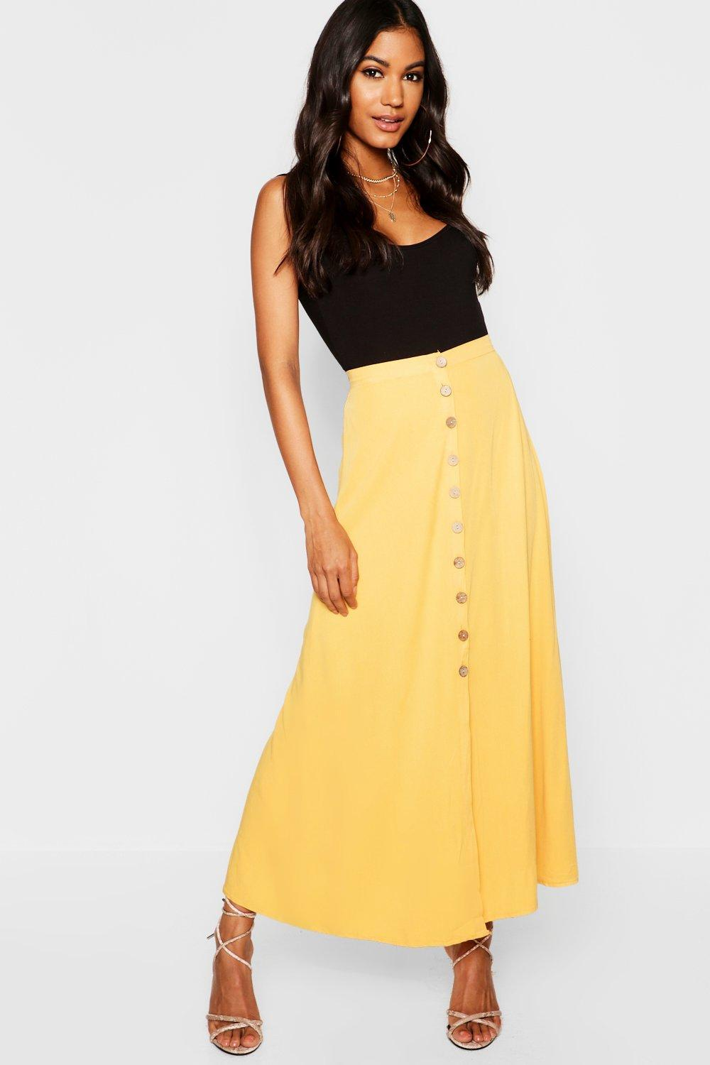 3778873377 ... Horn Button Through Midi Skirt - Lyst. Visit Boohoo. Tap to visit site